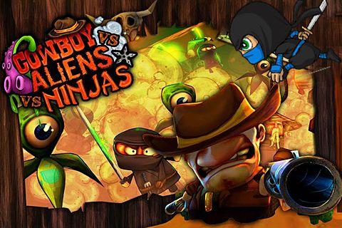 Screenshots of the Cowboy vs. ninjas vs. aliens game for iPhone, iPad or iPod.