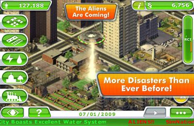Screenshots of the SimCity Deluxe game for iPhone, iPad or iPod.