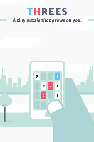 Screenshots of the Threes! game for iPhone, iPad or iPod.