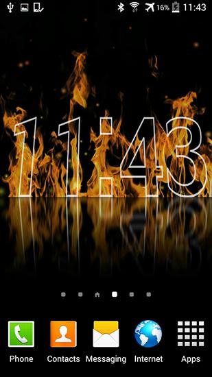 Fire clock - Live wallpaper screenshots. How does it look Fire clock ...